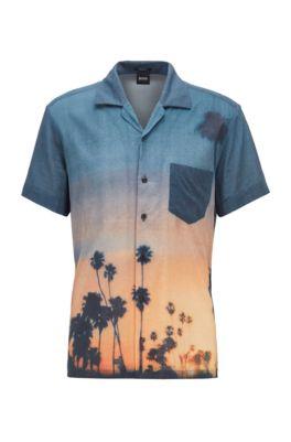 Regular-Fit Hemd aus Baumwoll-Mix mit Foto-Print, Blau