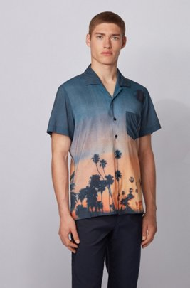 Photographic-print regular-fit shirt in a cotton blend, ブルー