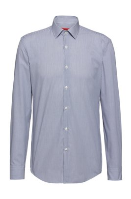 Easy-iron slim-fit shirt in striped cotton poplin, Dark Blue
