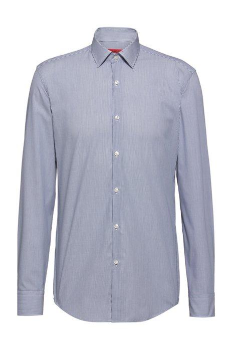 Easy-iron slim-fit shirt in striped cotton poplin, Dark Blue