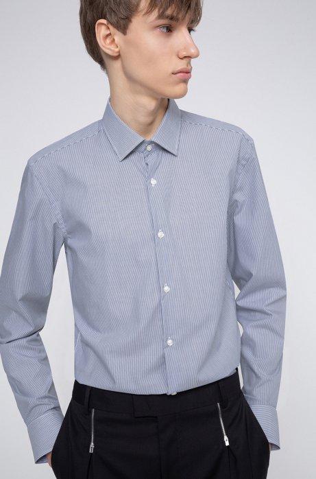 Slim-fit overhemd van gemakkelijk te strijken gestreepte katoenen popeline, Donkerblauw