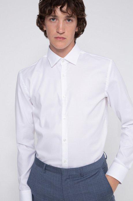 Slim-Fit Hemd aus bügelleichter Oxford-Baumwolle, Weiß