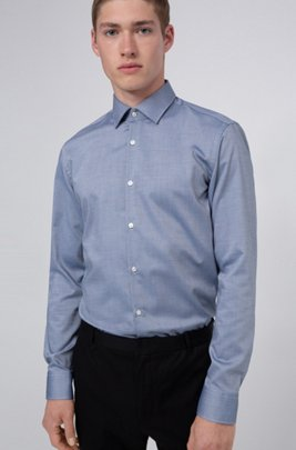 Slim-fit shirt in easy-iron Oxford cotton, Blue