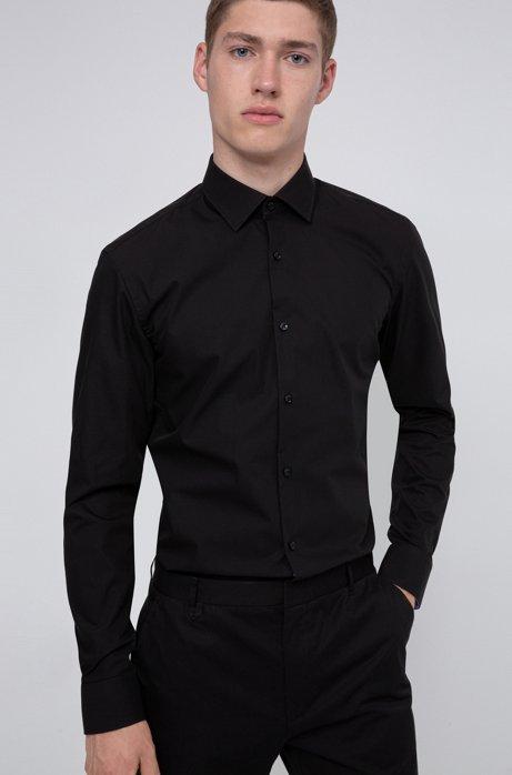Camicia slim fit in popeline di cotone facile da stirare, Nero
