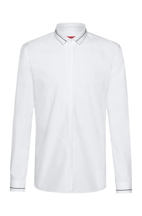 Extra-slim-fit cotton shirt with contrast stripe details, Open White