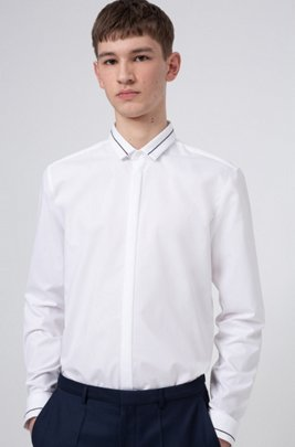 Extra-slim-fit cotton shirt with contrast stripe details, White