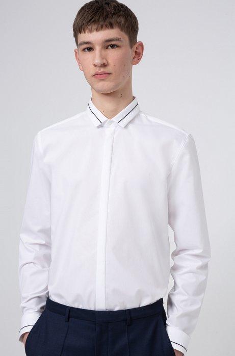 Camicia extra slim fit in cotone con riga a contrasto, Bianco