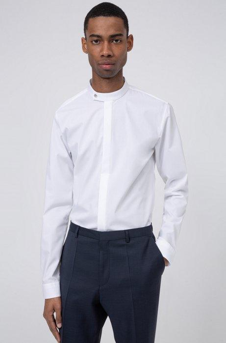 Extra Slim-Fit Hemd aus Baumwolle mit Stehkragen, Weiß