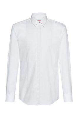 Slim-fit overhemd met gestructureerd borststuk en dubbele manchetten, Wit