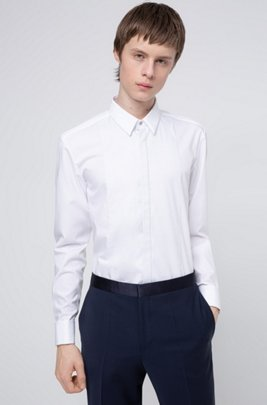 Slim-fit shirt with structured bib and double cuffs, ホワイト