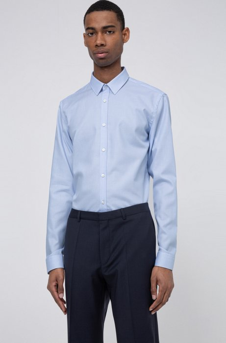Camisa slim fit en sarga de algodón con estructura, Celeste
