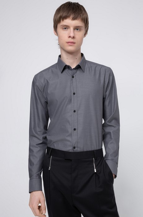 Extra-slim-fit cotton shirt with all-over structure, Grey
