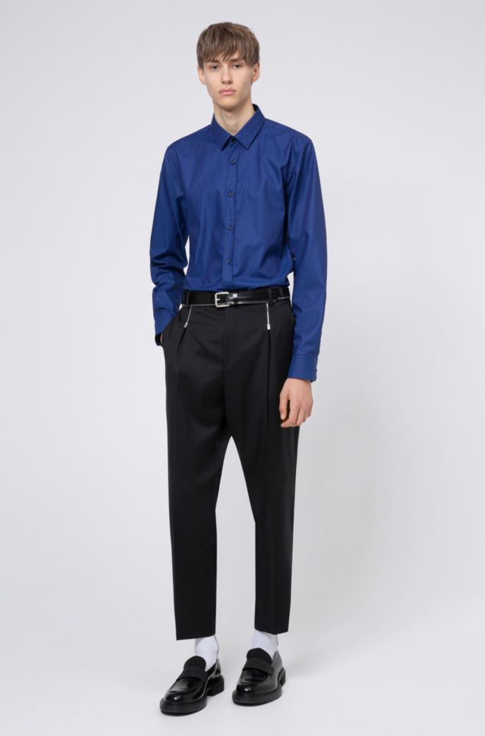 Extra-slim-fit cotton shirt with all-over structure