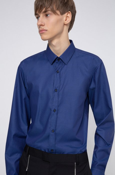 Extra-slim-fit cotton shirt with all-over structure, Blue