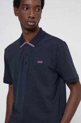 Cotton-piqué polo shirt with stripe-detail collar, Dark Blue