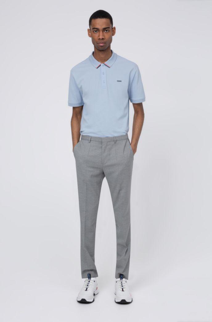 Cotton-piqué polo shirt with stripe-detail collar