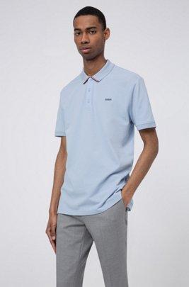 Cotton-piqué polo shirt with stripe-detail collar, Light Blue