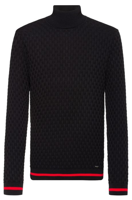 Slim-fit rollneck sweater with jacquard pattern, Black