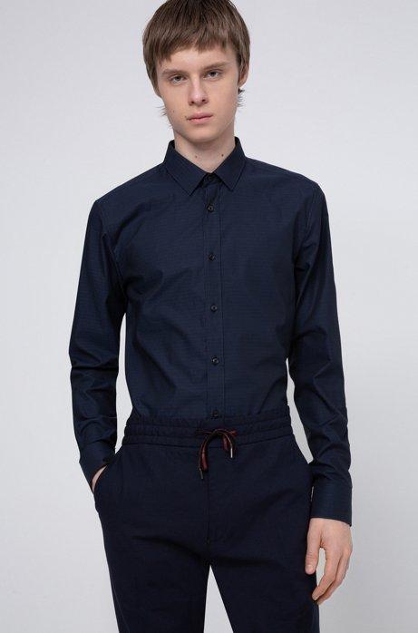 Extra slim-fit katoenen overhemd met jacquardgeweven logo's, Donkerblauw