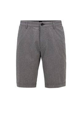 Slim-fit shorts in stretch cotton with micro motif, Grey