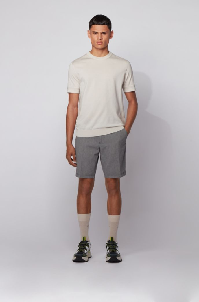 Slim-fit shorts in stretch cotton with micro motif