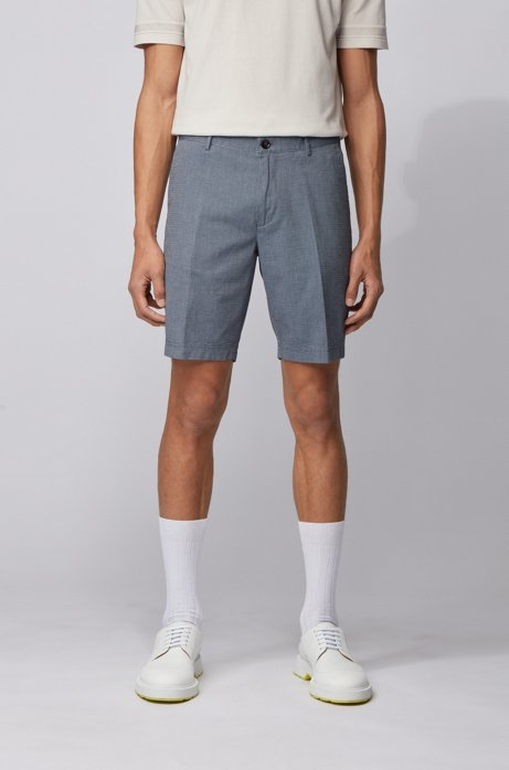 Slim-fit shorts in stretch cotton with micro motif, Dark Blue