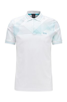 Polo Slim Fit avec graphique imprimé en dégradé, Blanc