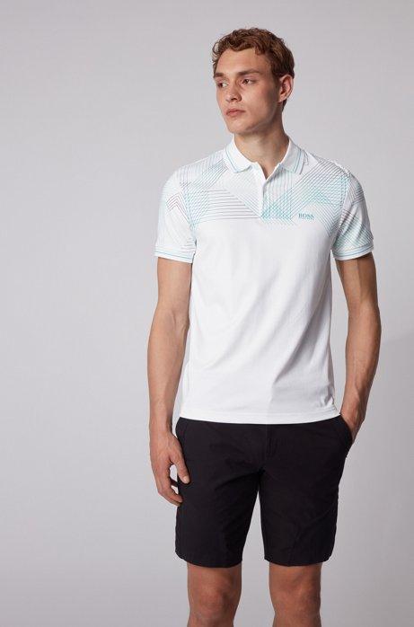 Poloshirt mit Grafik-Print im Farbverlauf, Weiß