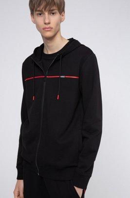 Sweater met capuchon van sweatstof met het logo van het nieuwe seizoen, Zwart