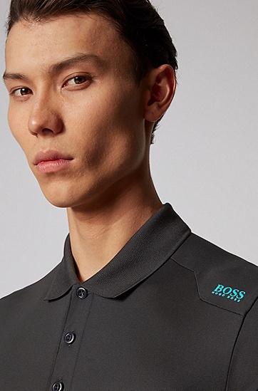 S.Café® 面料肩部徽标修身 Polo 衫,  001_黑色