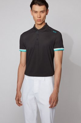 Slim-fit polo shirt in S.Café® with shoulder logo, Black