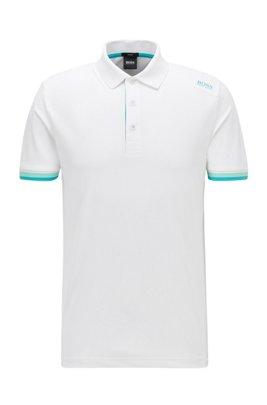 Poloshirt mit S.Café® und Logo-Dessin an der Schulter, Weiß