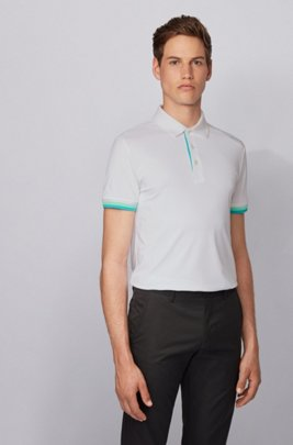 Slim-fit polo shirt in S.Café® with shoulder logo, White