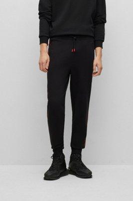 Pantalones de chándal en felpa de algodón con raya en contraste y logo, Negro