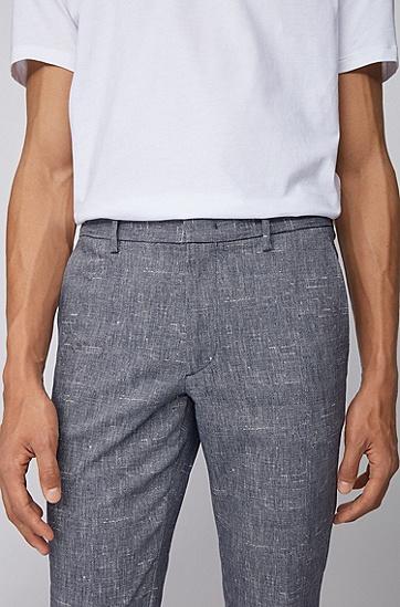 双色弹力面料修身版休闲裤,  407_暗蓝色