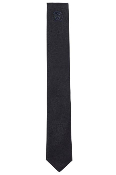 Stropdas in een jacquard van zijde met gerubberd logo, Donkerblauw