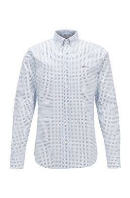 Patterned slim-fit shirt in a stretch-cotton blend, ホワイト