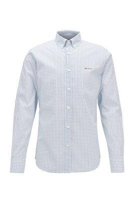 Gemustertes Slim-Fit Hemd aus Stretch-Baumwolle, Weiß