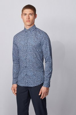 Patterned slim-fit shirt in a stretch-cotton blend, ダークブルー