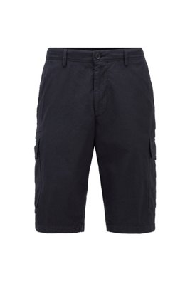 Cargo shorts in stretch cotton, ダークブルー