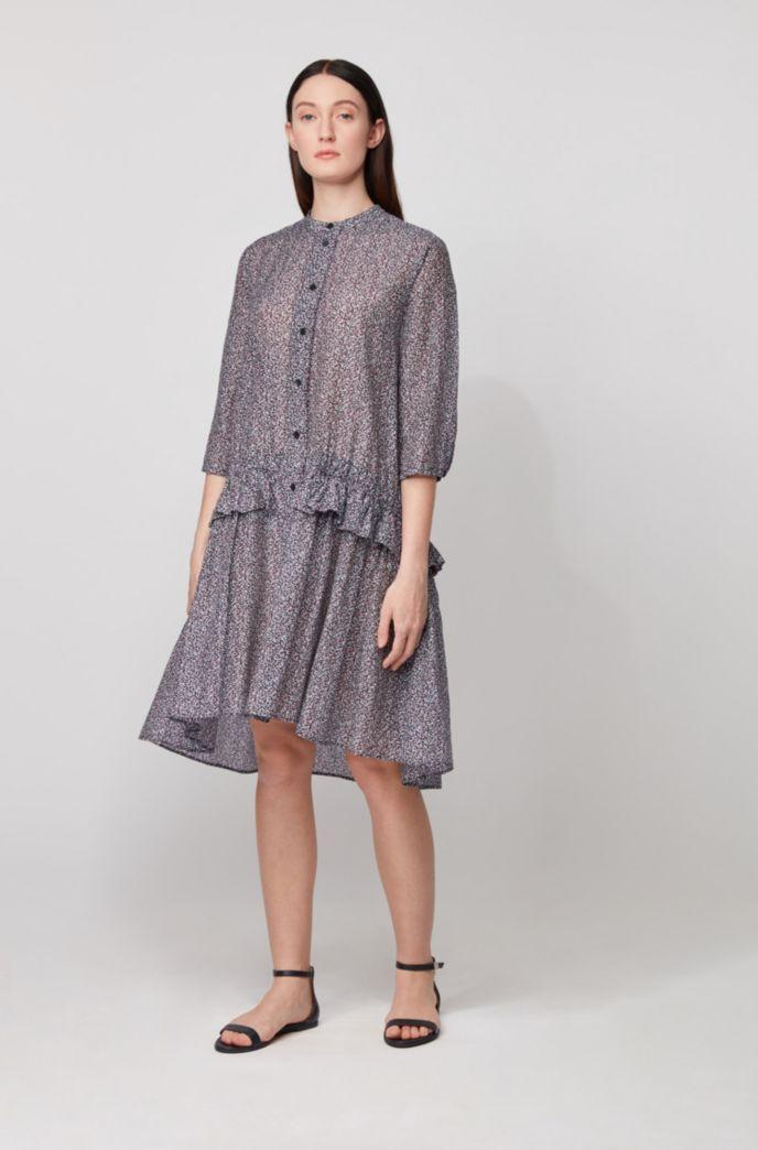 Tunikakleid aus bedruckter Baumwolle mit Seide