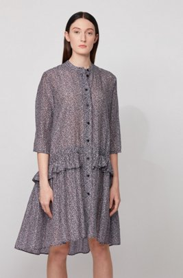 Relaxed-fit tunic dress in printed cotton and silk, Patterned
