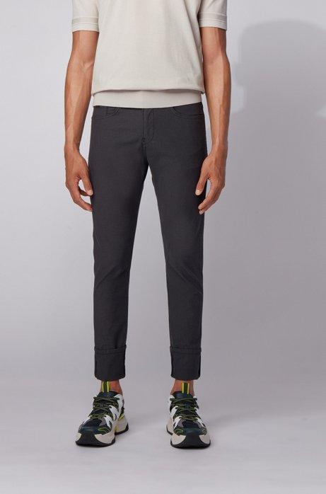 Slim-fit jeans in structured stretch denim , Black