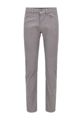 Slim-fit jeans in structured stretch denim , Light Grey