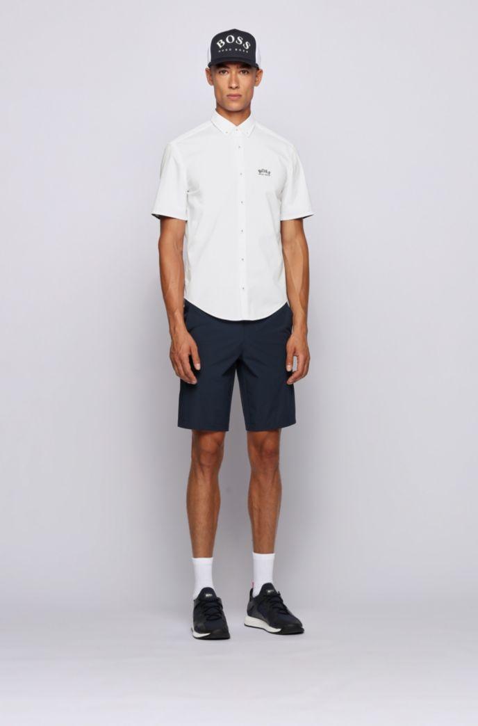 Regular-Fit Kurzarm-Hemd aus Stretch-Popeline mit Button-Down-Kragen
