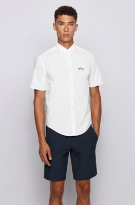 Short-sleeved regular-fit button-down shirt in stretch poplin, White