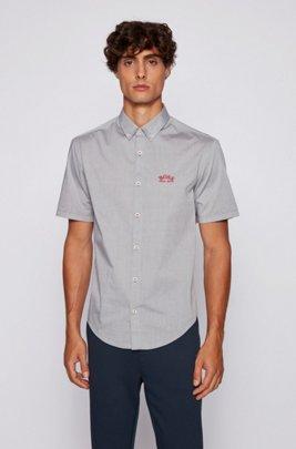 Short-sleeved regular-fit button-down shirt in stretch poplin, Dark Green