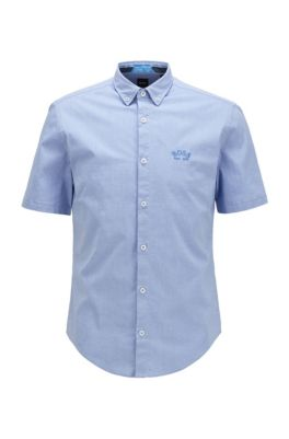 Short-sleeved regular-fit button-down shirt in stretch poplin, Blue
