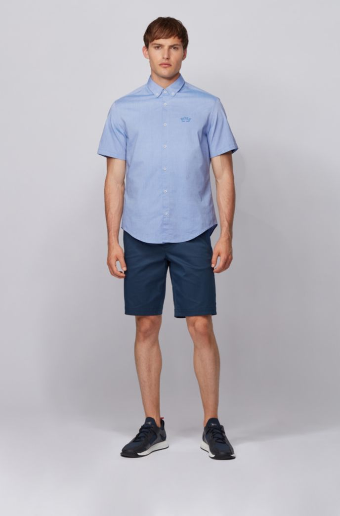 Short-sleeved regular-fit button-down shirt in stretch poplin