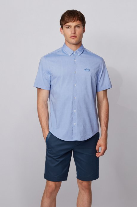 Short-sleeved regular-fit button-down shirt in stretch poplin, Blue